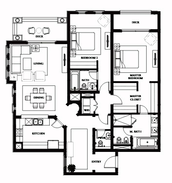 Planning of the apartment 2BR, 1709.85 in Saadiyat Beach Residences, Abu Dhabi