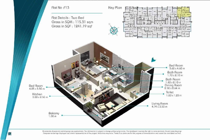 Planning of the apartment 2BR, 1241.19 in Smart Tower 2, Sharjah