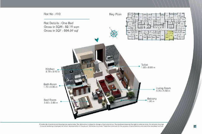Planning of the apartment 1BR, 884.69 in Smart Tower 2, Sharjah