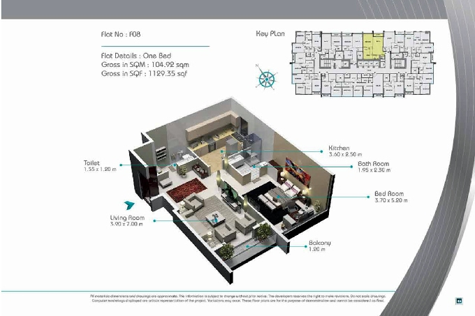 Planning of the apartment 1BR, 1129.35 in Smart Tower 2, Sharjah