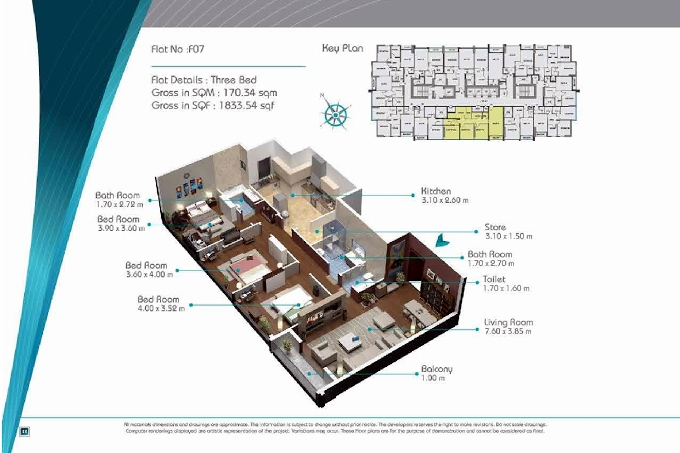 Planning of the apartment 3BR, 1833.54 in Smart Tower 2, Sharjah