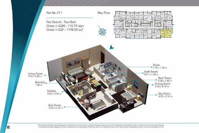 Planning of the apartment 2BR, 1192 in Smart Tower 2, Sharjah
