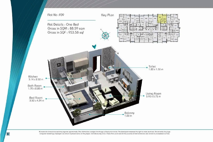 Planning of the apartment 1BR, 953.58 in Smart Tower 2, Sharjah