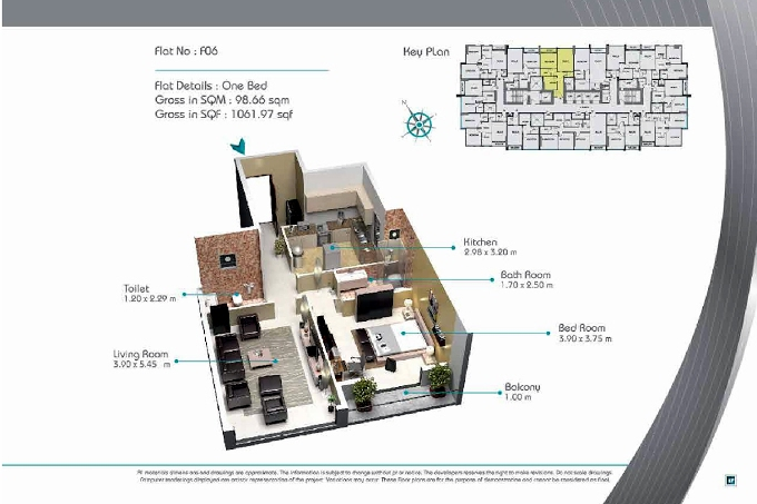Planning of the apartment 1BR, 1061.97 in Smart Tower 2, Sharjah
