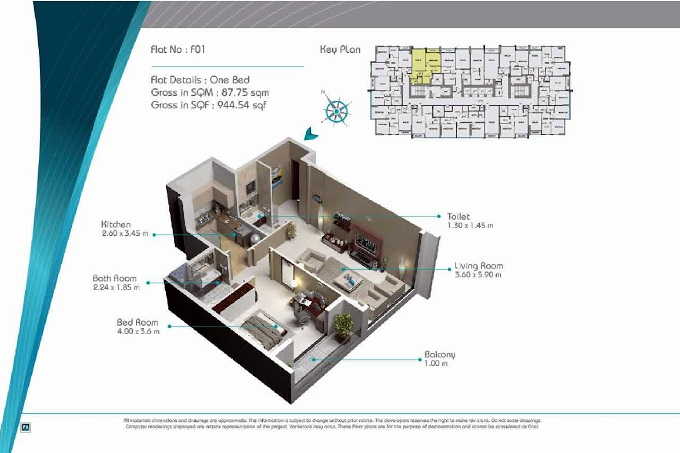 Planning of the apartment 1BR, 944.54 in Smart Tower 2, Sharjah