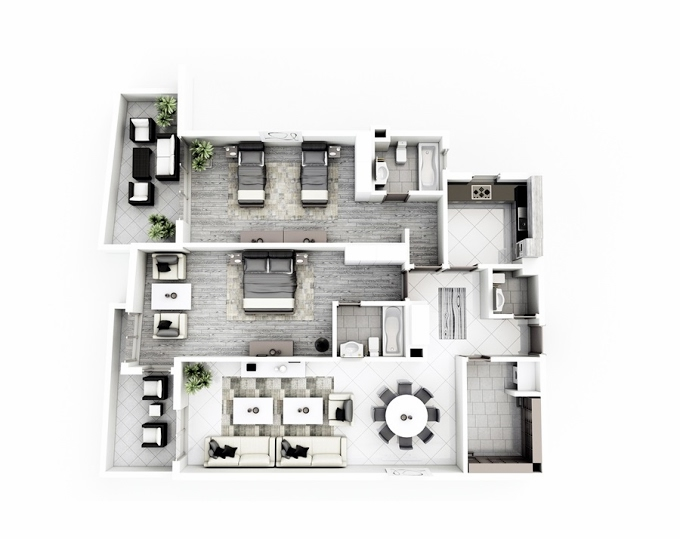 Planning of the apartment 2BR, 165.2 in Janayen Avenue, Dubai