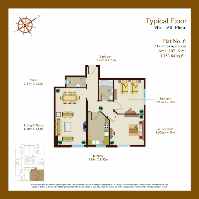 Planning of the apartment 2BR, 1153.84 in Afamia Tower I, Sharjah