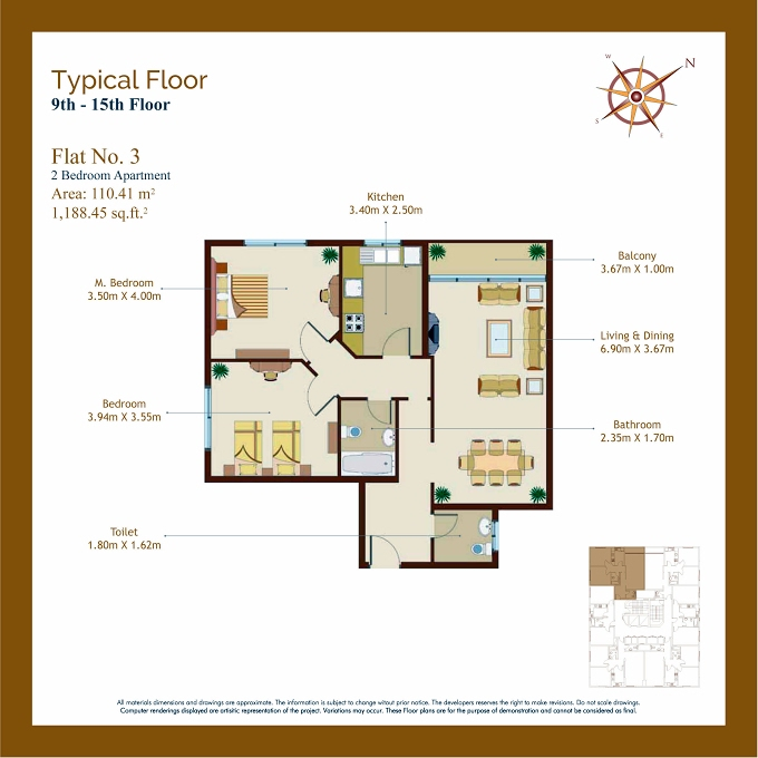 Planning of the apartment 2BR, 1188.45 in Afamia Tower I, Sharjah