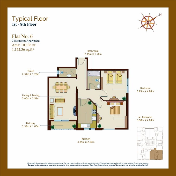Planning of the apartment 2BR, 1152.36 in Afamia Tower I, Sharjah