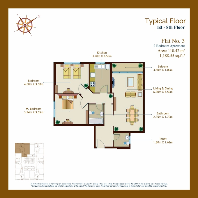 Planning of the apartment 2BR, 1188.55 in Afamia Tower I, Sharjah