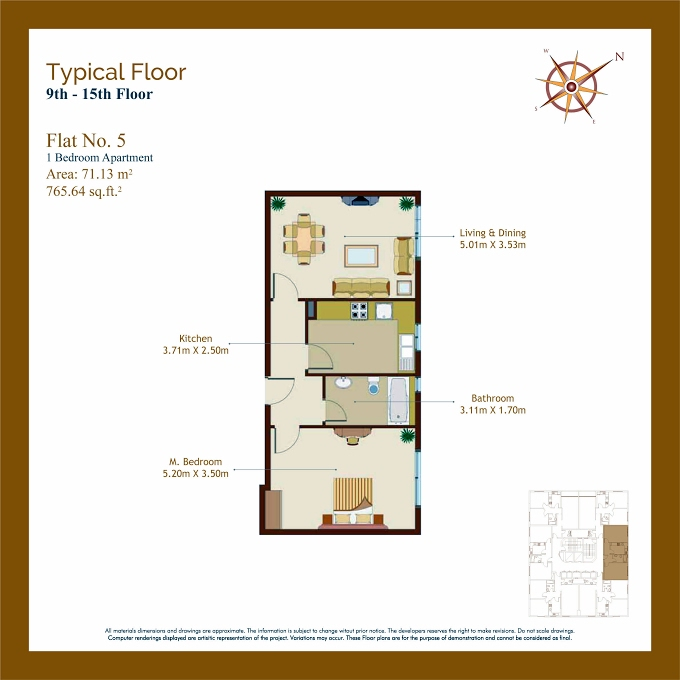 Planning of the apartment 1BR, 765.65 in Afamia Tower I, Sharjah