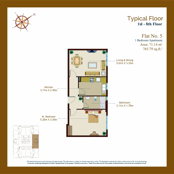 Planning of the apartment 1BR, 765.79 in Afamia Tower I, Sharjah