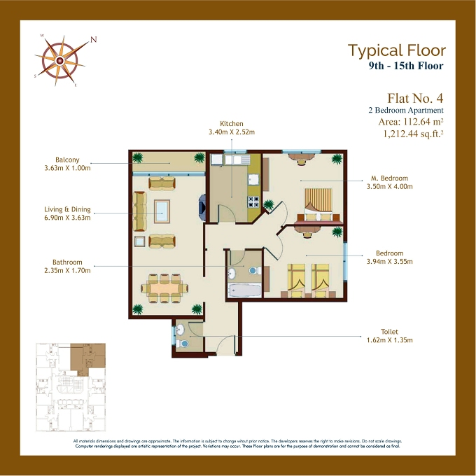 Planning of the apartment 2BR, 1212.44 in Afamia Tower I, Sharjah