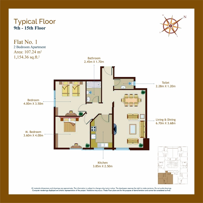 Planning of the apartment 2BR, 1154.36 in Afamia Tower I, Sharjah