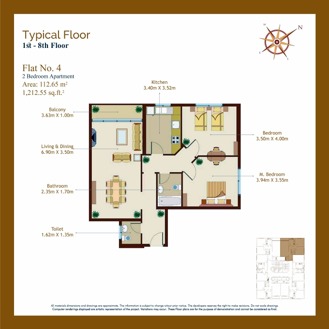 Planning of the apartment 2BR, 1212.55 in Afamia Tower I, Sharjah