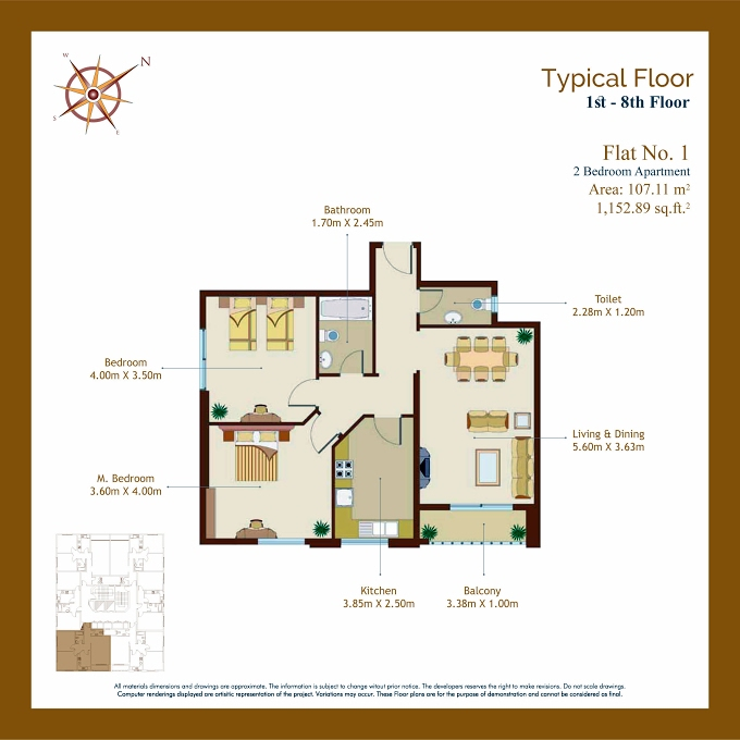 Planning of the apartment 2BR, 1152.89 in Afamia Tower I, Sharjah