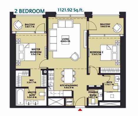 Planning of the apartment 2BR, 1121.92 in Vida Za'abeel, Dubai