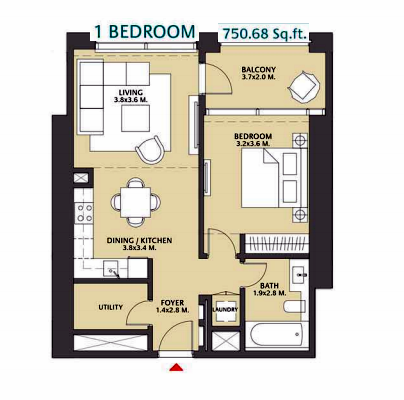Planning of the apartment 1BR, 750.68 in Vida Za'abeel, Dubai