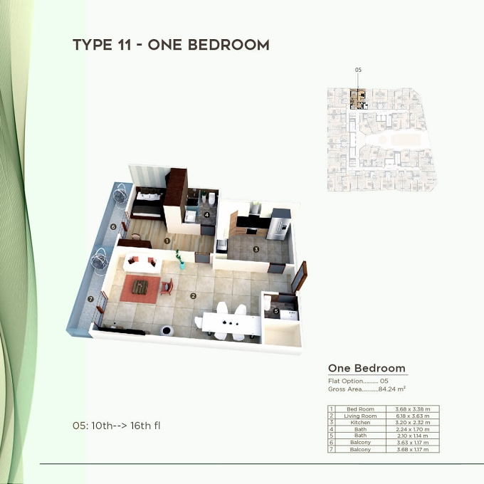 Planning of the apartment 1BR, 906.75 in Al Mazraa Tower, Ajman