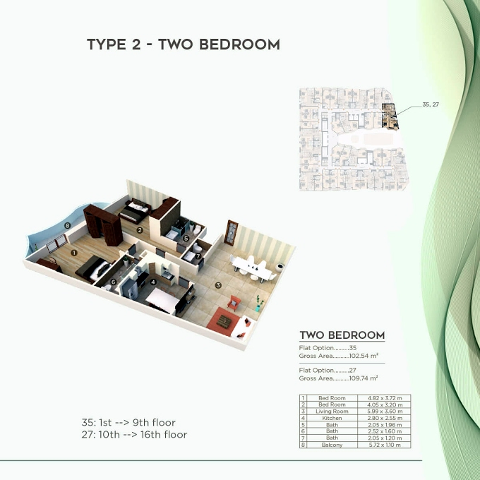 Planning of the apartment 2BR, 1103.73 in Al Mazraa Tower, Ajman
