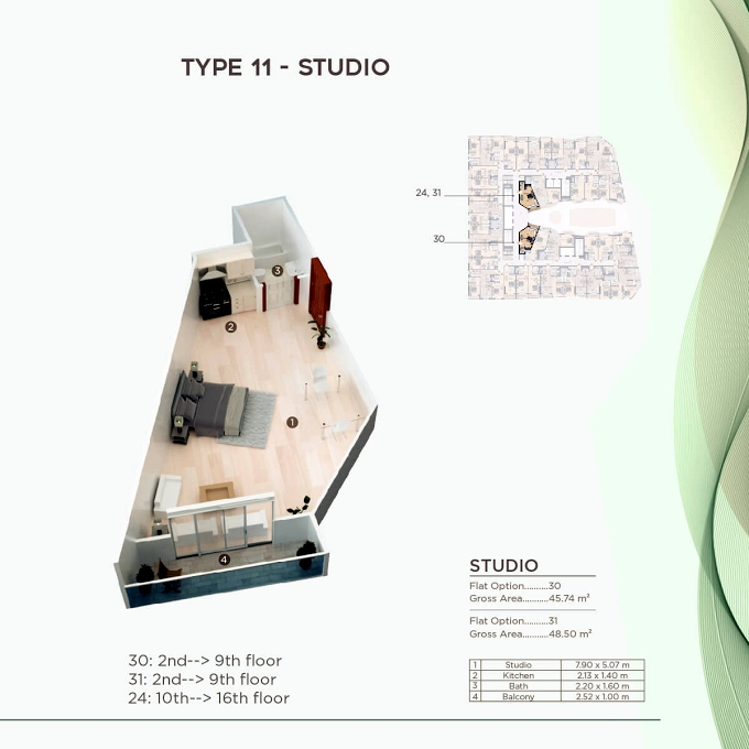 Planning of the apartment Studios, 492.34 in Al Mazraa Tower, Ajman