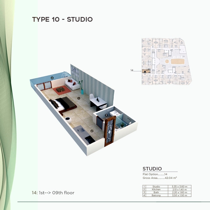 Planning of the apartment Studios, 452.51 in Al Mazraa Tower, Ajman