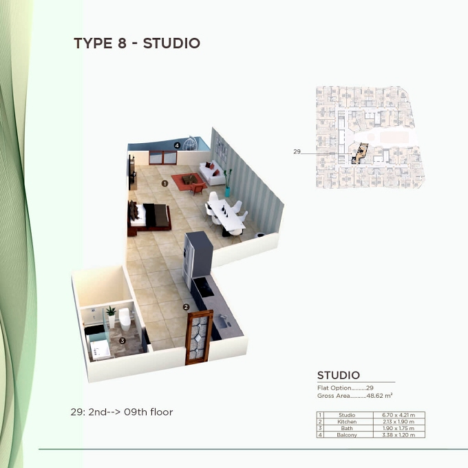 Planning of the apartment Studios, 523.34 in Al Mazraa Tower, Ajman