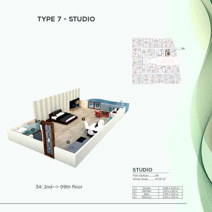 Planning of the apartment Studios, 442.72 in Al Mazraa Tower, Ajman