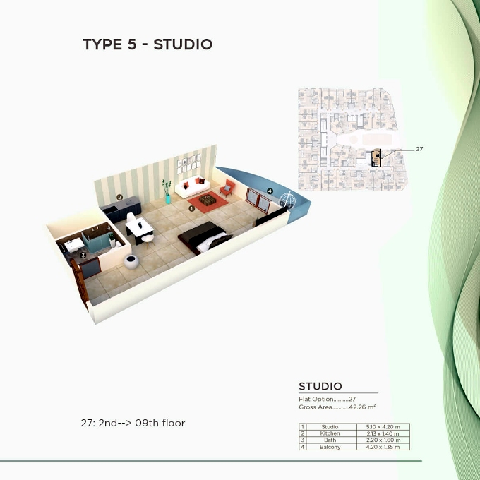 Planning of the apartment Studios, 454.88 in Al Mazraa Tower, Ajman