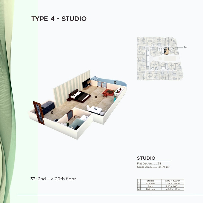 Planning of the apartment Studios, 481.47 in Al Mazraa Tower, Ajman