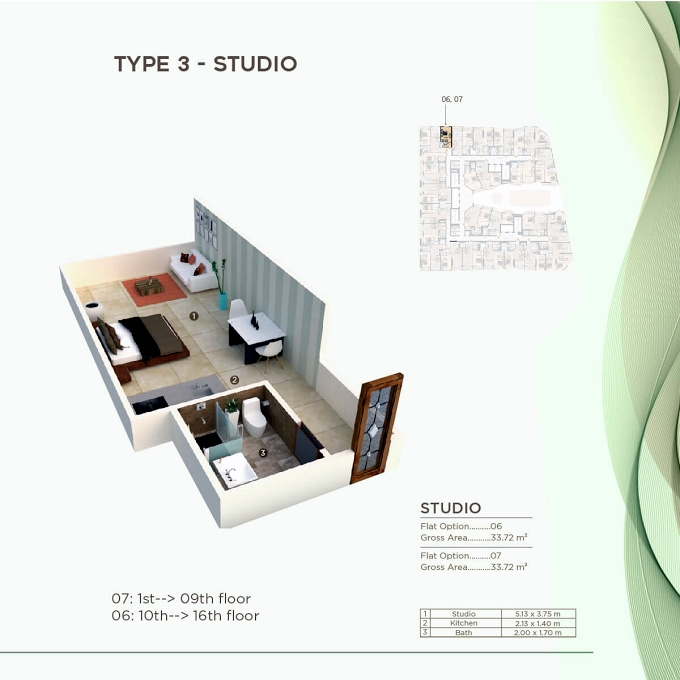Planning of the apartment Studios, 362.96 in Al Mazraa Tower, Ajman
