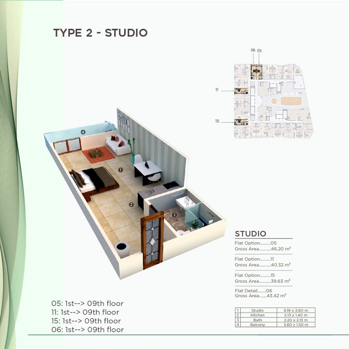 Planning of the apartment Studios, 426.57 in Al Mazraa Tower, Ajman