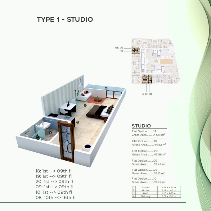 Planning of the apartment Studios, 421.41 in Al Mazraa Tower, Ajman