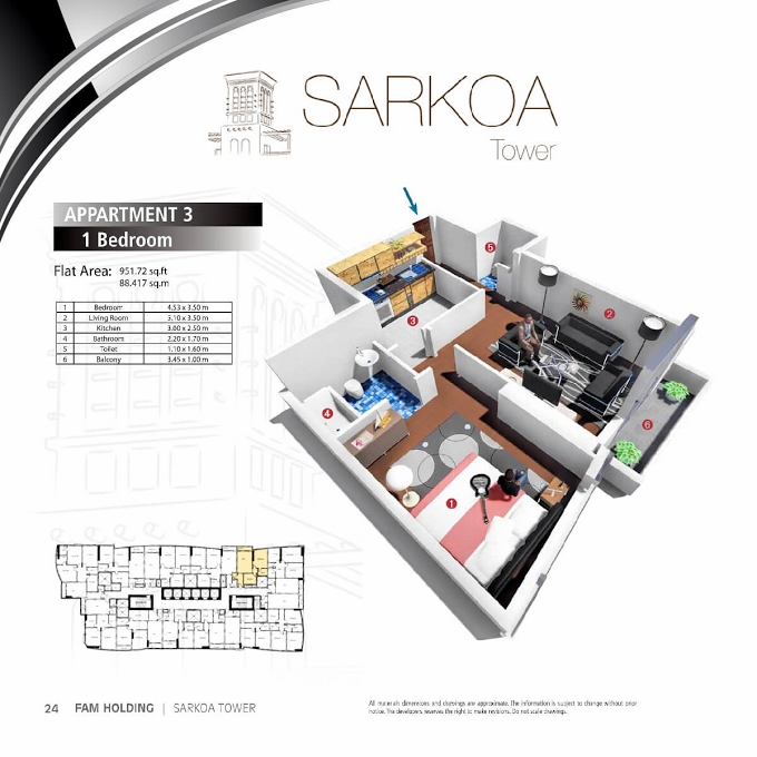 Planning of the apartment 1BR, 951.72 in Sarkoa Tower, Sharjah