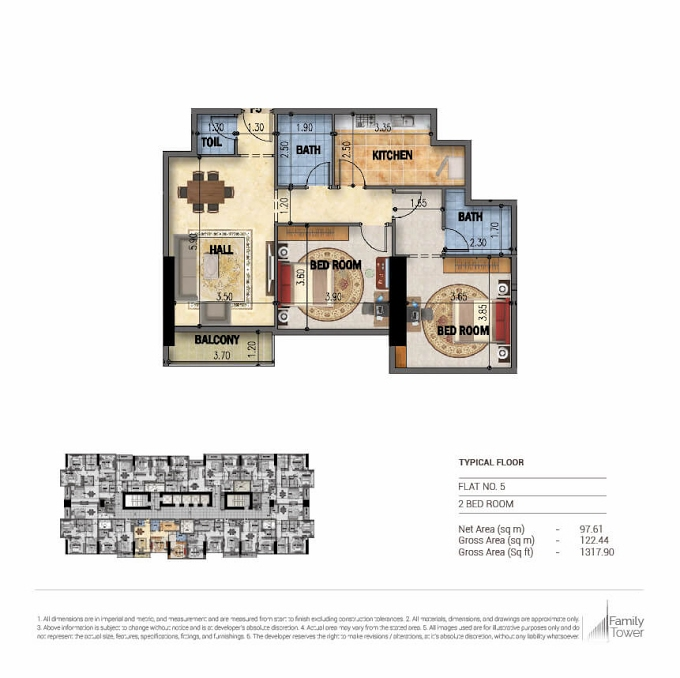 Planning of the apartment 2BR, 1317.9 in Family Tower, Sharjah