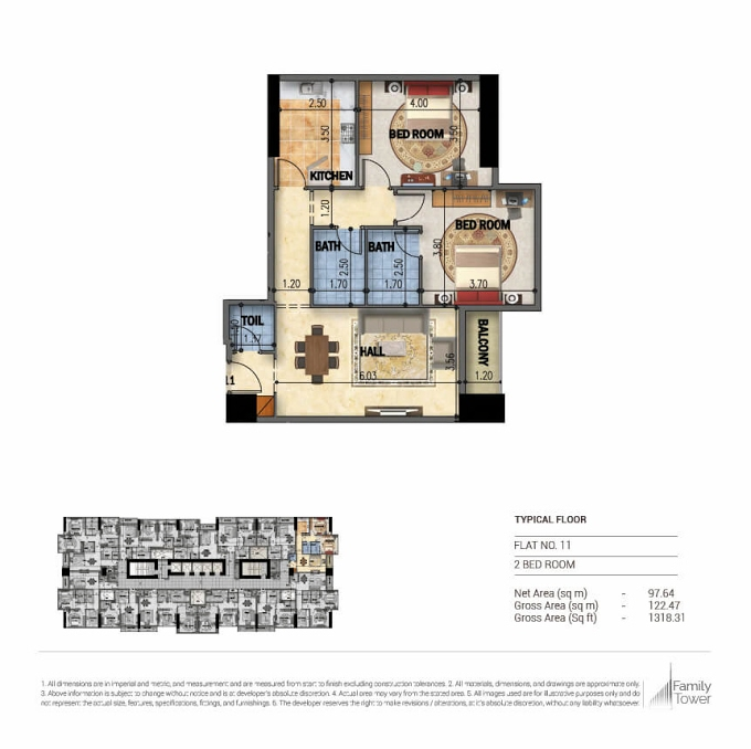 Planning of the apartment 2BR, 1318.31 in Family Tower, Sharjah