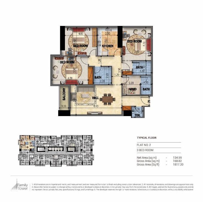Planning of the apartment 3BR, 1817.2 in Family Tower, Sharjah