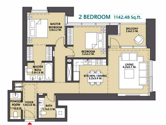 Planning of the apartment 2BR, 1142.48 in Vida Za'abeel, Dubai
