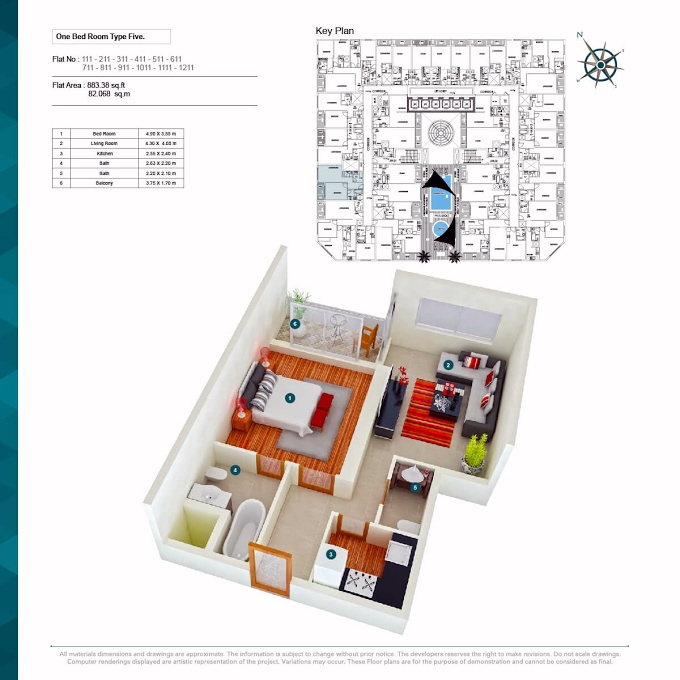 Planning of the apartment 1BR, 883.38 in Alaamra Tower, Ajman