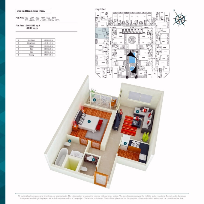 Planning of the apartment 1BR, 904.82 in Alaamra Tower, Ajman
