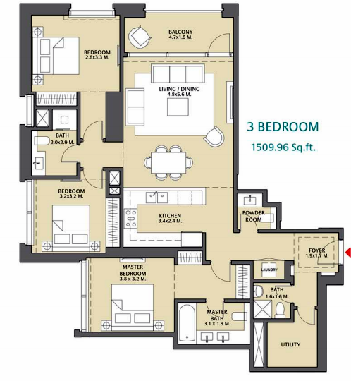 Planning of the apartment 3BR, 1509.96 in Vida Za'abeel, Dubai