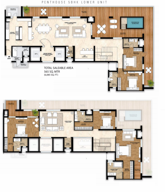 Planning of the apartment Penthouses, 6065 in Solaris Towers, Abu Dhabi