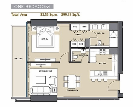 Planning of the apartment 1BR, 899.33 in Arabian Gate 1, Dubai