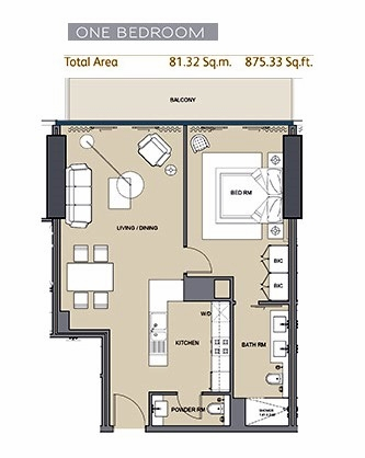 Planning of the apartment 1BR, 875.33 in Arabian Gate 1, Dubai