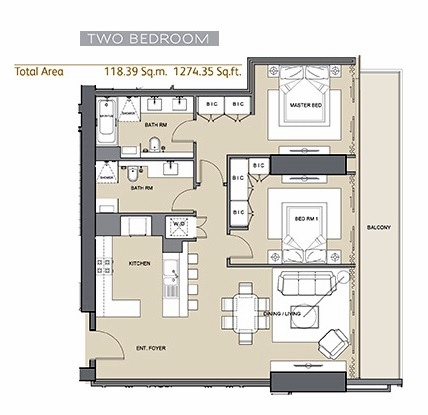 Planning of the apartment 2BR, 1274.35 in Arabian Gate 1, Dubai
