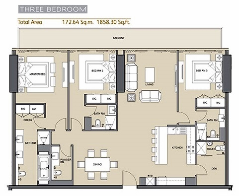 Planning of the apartment 3BR, 1858.3 in Arabian Gate 1, Dubai