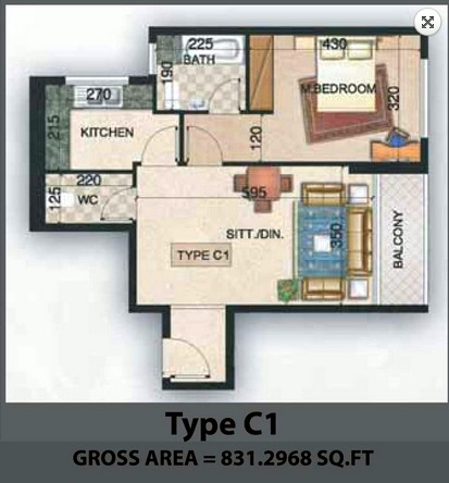 Planning of the apartment 1BR, 831.3 in Paradise Lakes Towers Emirates City, Ajman