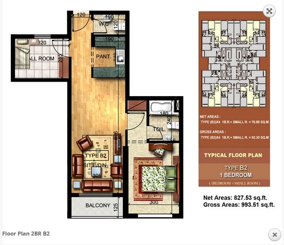 Planning of the apartment 1BR, 993.51 in Paradise Lakes Towers Emirates City, Ajman