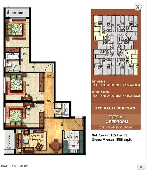 Planning of the apartment 3BR, 1586 in Paradise Lakes Towers Emirates City, Ajman