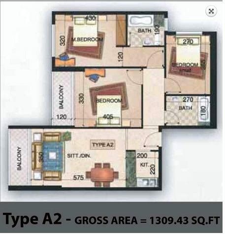 Planning of the apartment 3BR, 1309.43 in Paradise Lakes Towers Emirates City, Ajman
